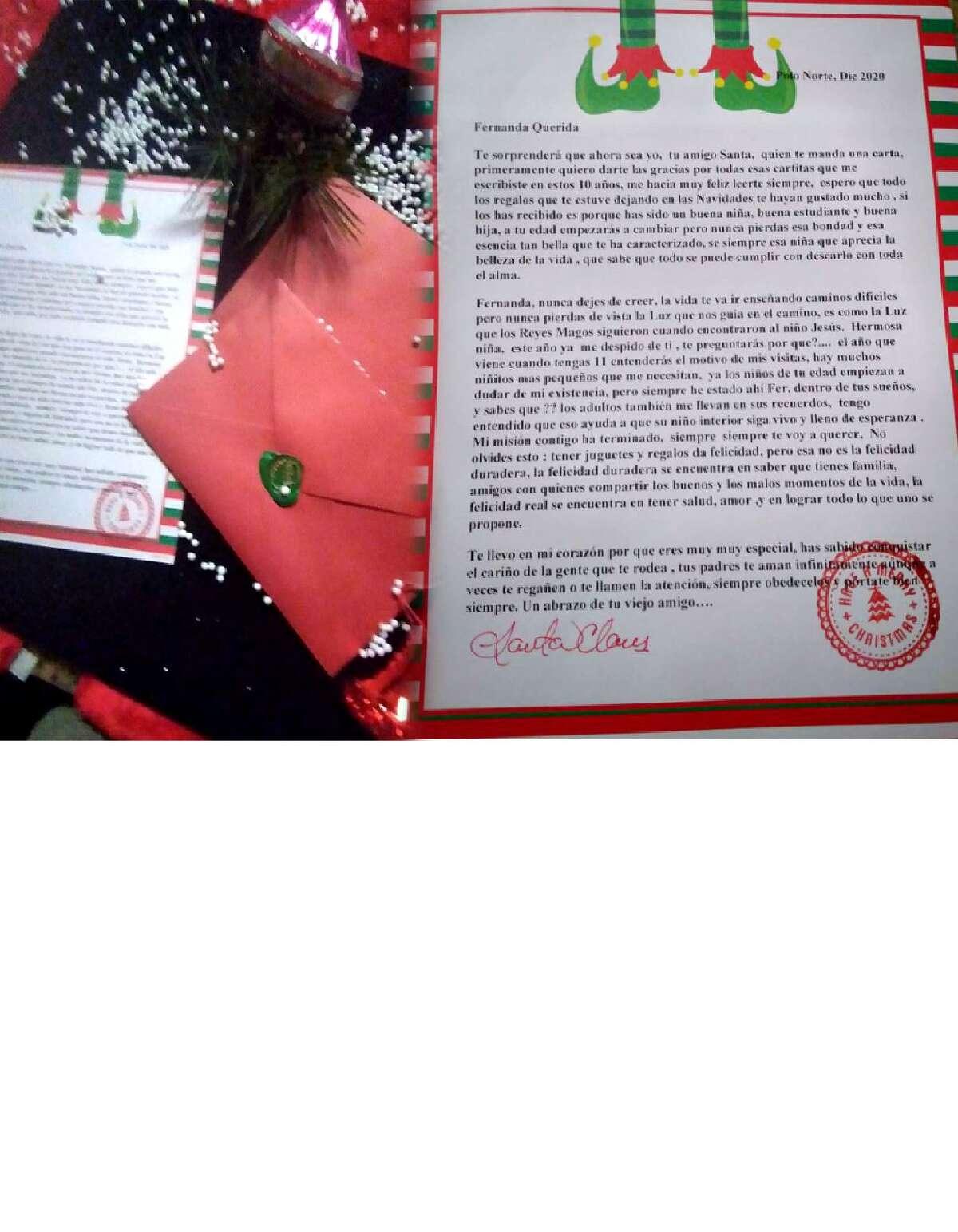 Una carta escrita hace 11 años, donde Santa Claus se despide de una pequeña, ha dado lugar a la creación del Proyecto Fernanda, una iniciativa que busca recolectar fondos para ayudar en causas nobles durante la Navidad.