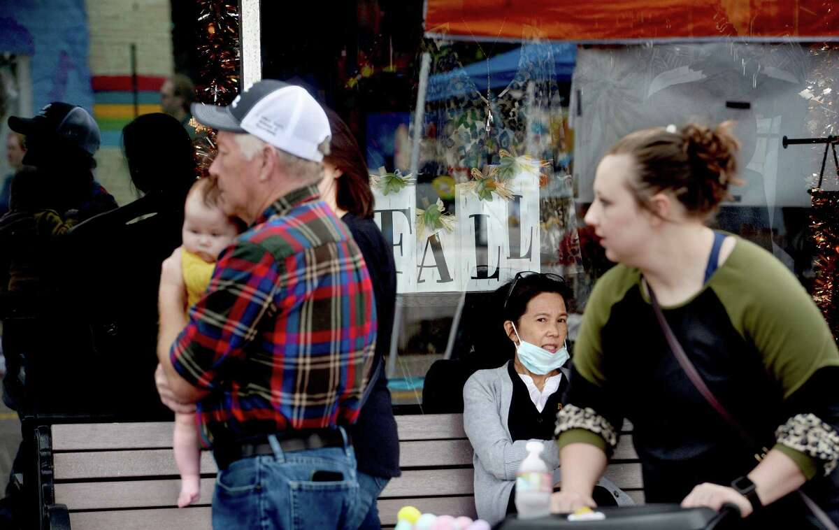 Shoppers fill Boston Avenue, perusing the vendor booths and open shops during Nederland's Fall Fest Saturday. Photo taken Saturday, October 17, 2020 Kim Brent/The Enterprise
