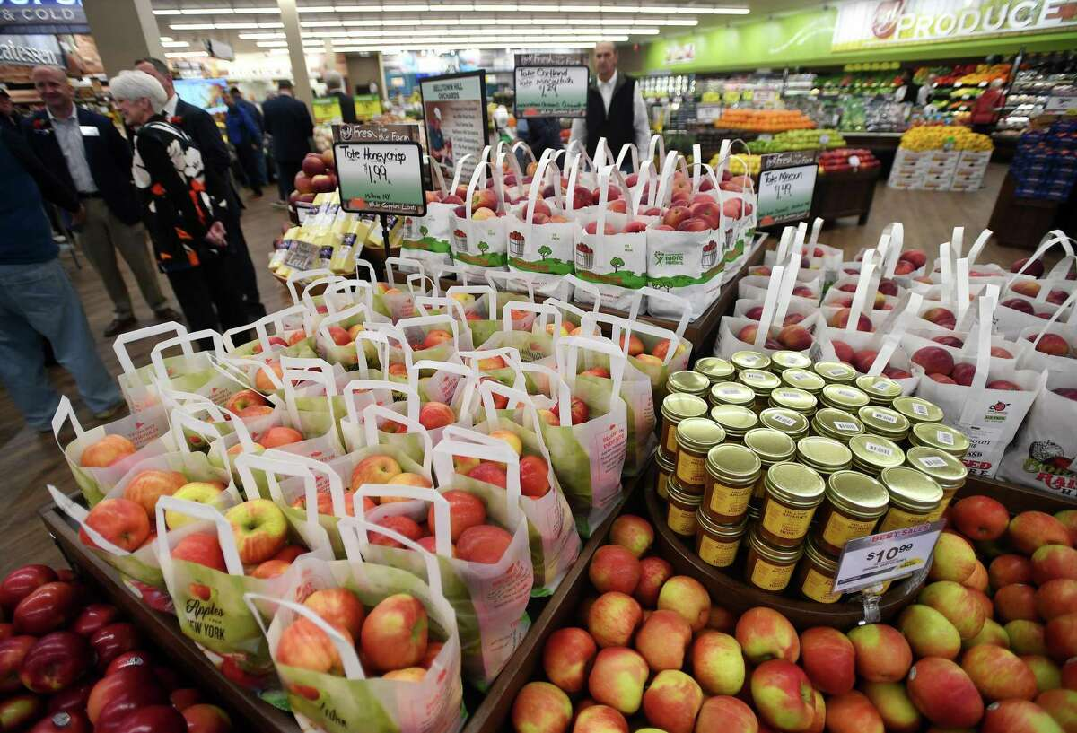 Local apples for sale during the grand opening of the new Big Y supermarket at 150 Boston Post Road in Milford, Conn. on Tuesday, November 7, 2019.