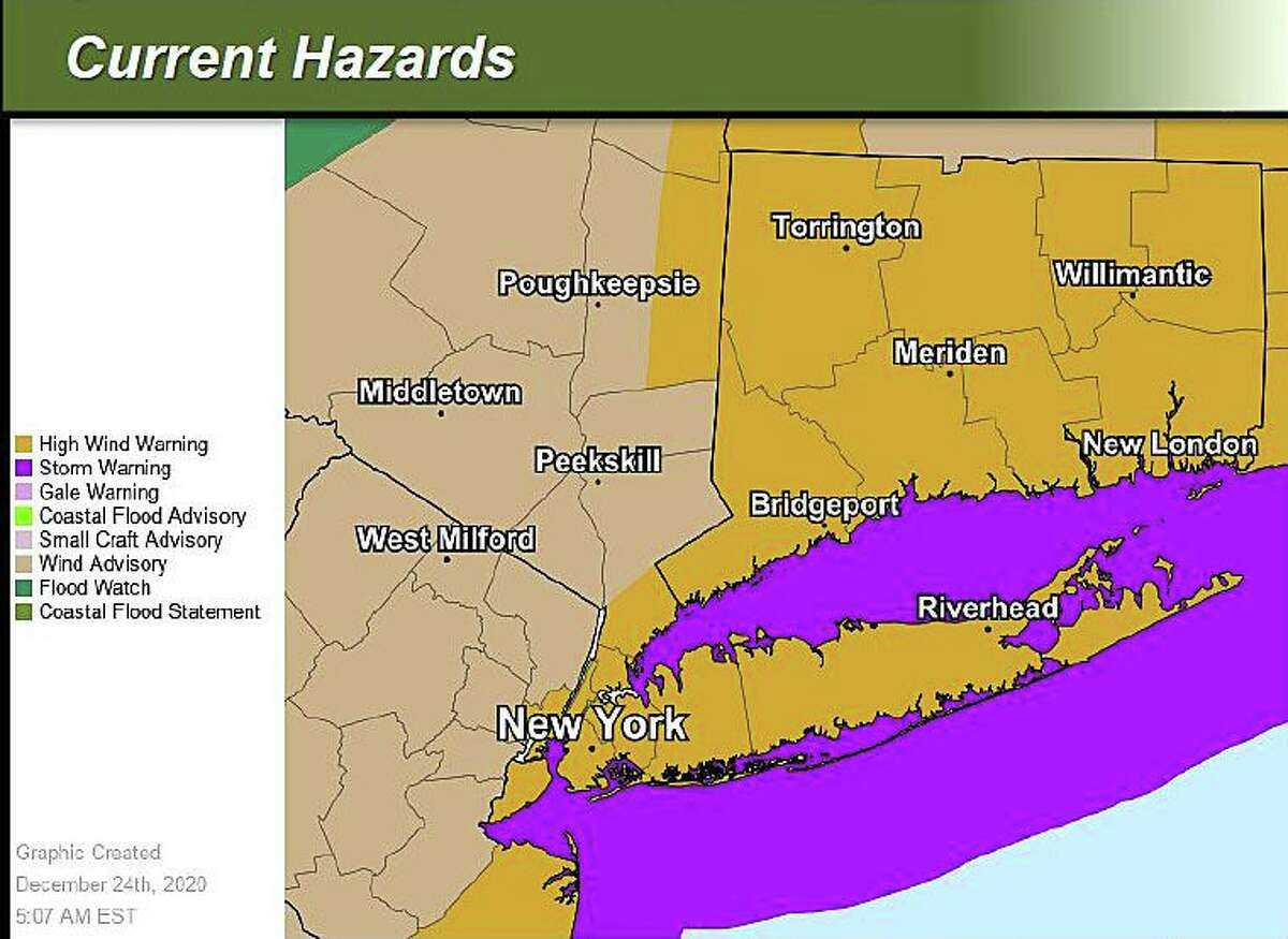 The current warnings, watches and advisories for the area issued by the National Weather Service ahead of a heavy rain and strong wind storm, expected to hit Connecticut late Thursday, Dec. 24, 2020, into Friday.