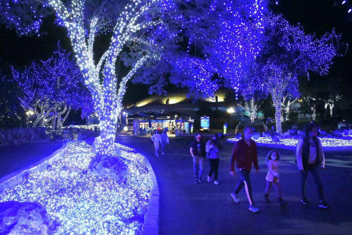 SeaWorld San Antonio, ablaze with lights during the holidays, plans to remain open on weekends in January and February.