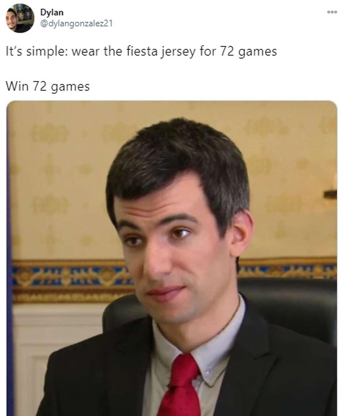 @dylangonzalez: It's simple: wear the fiesta jersey for 72 games Win 72 games