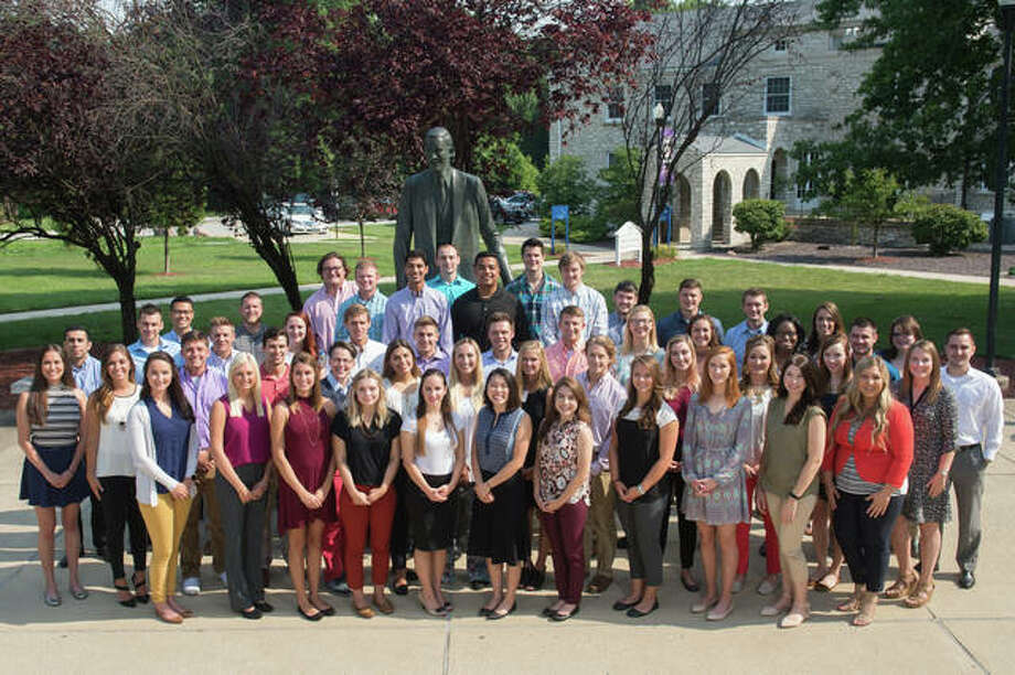 The SIU SDM Class of 2021 is shown gathered on campus during their 2017 orientation program.