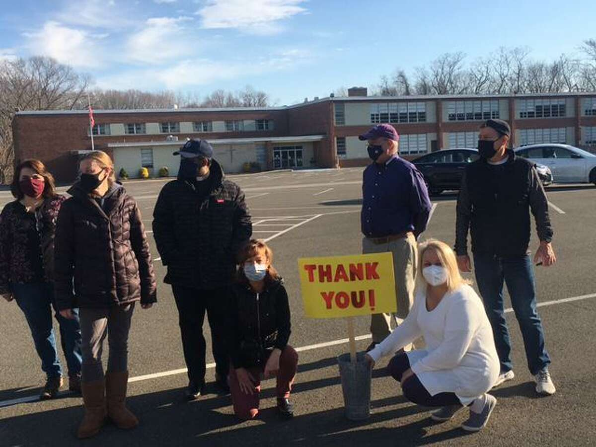 The Thanksgiving drive-through Food Drive and Blessing at St. Mary Church in Milford was a big success.