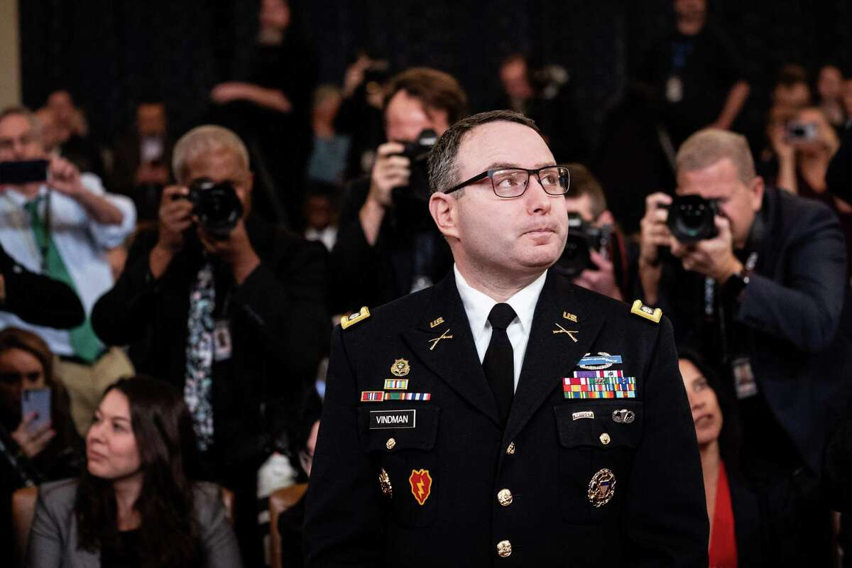 Lt. Col. Alexander Vindman, National Security Council Director for European Affairs, appears at the House Intelligence Committee impeachment inquiry hearing of President Donald Trump on Capitol Hill in Washington, Nov. 19, 2019.