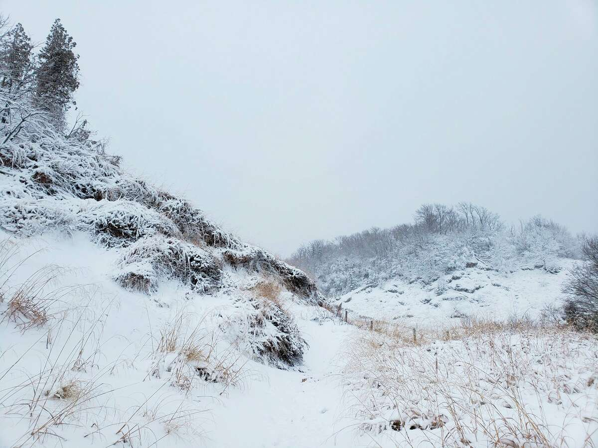 This photo shows a wintry scene from the Baldy Trail observation area in Arcadia this month. (File photo)