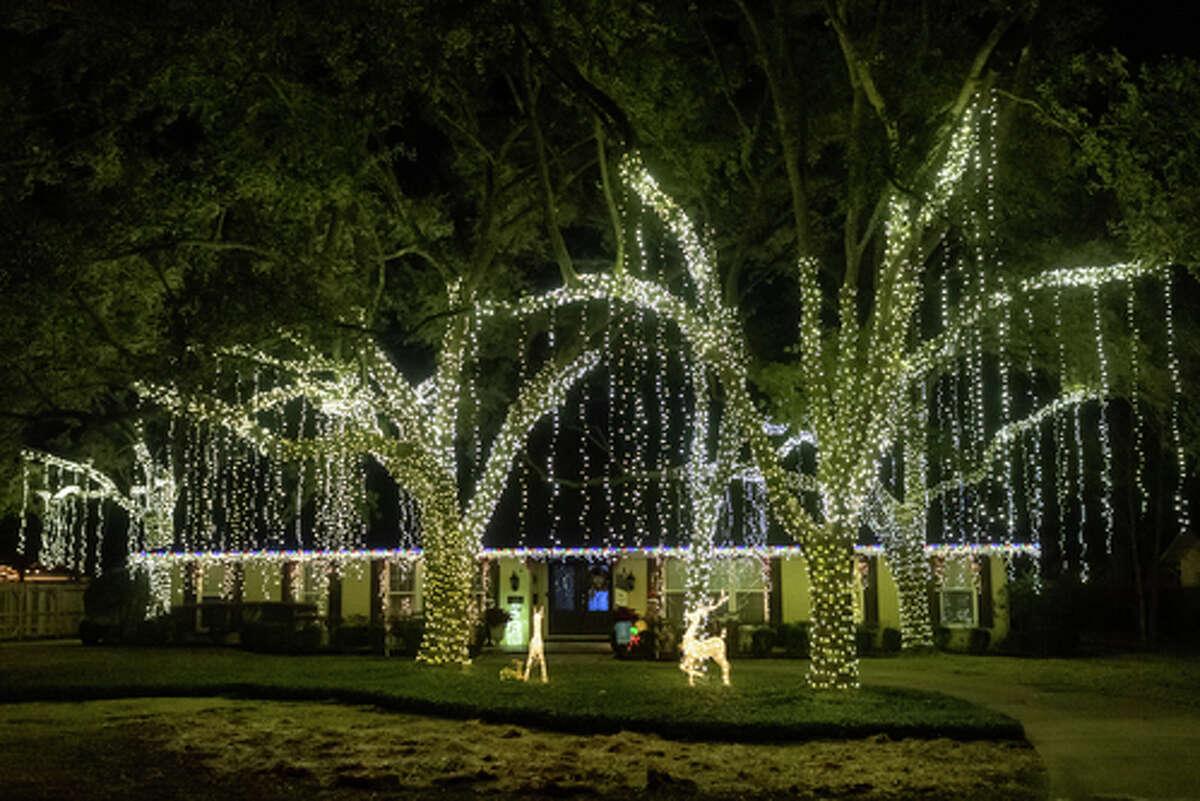 The lights shine brightly on Gladys Avenue.