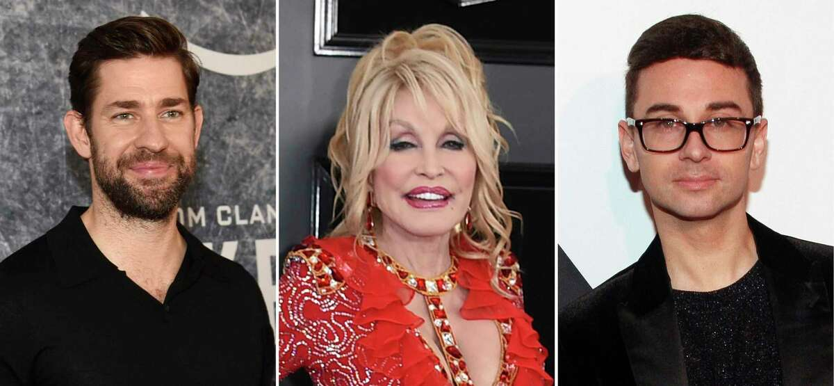 John Krasinski, from left, Dolly Parton and Christian Siriano are among those in the entertainment industry who took the initiative to make the best out of a challenging year.
