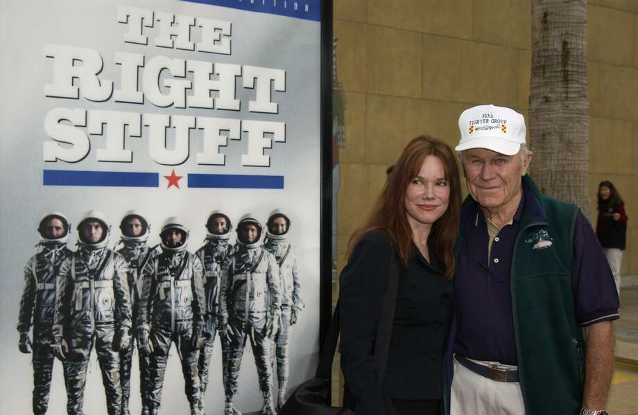 "Yeager and actress Barbara Hershey attend a special 20th anniversary screening and DVD release of ""The Right Stuff"" at the Egyptian Theatre on June 9, 2003, in Hollywood, Calif. Photo: Robert Mora/Getty Images / 2003 Getty Images"