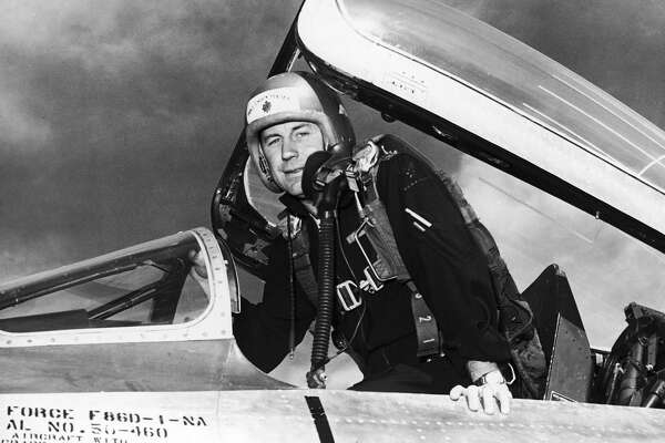 Test pilot Major Chuck Yeager at Air Force Flight Center at Edwards Air Force Base.