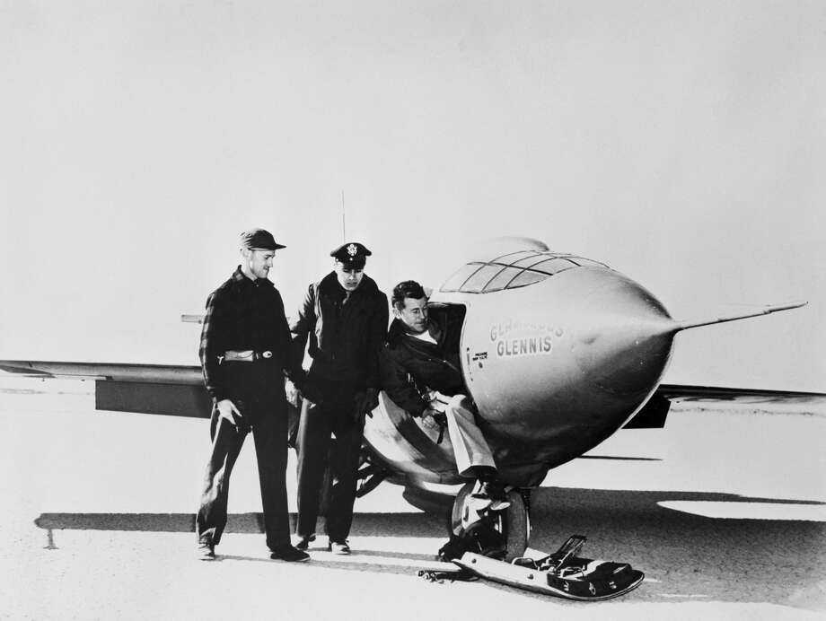 Dick Frost, Bell Aircraft Co. X-1 project officer, from left to right; Capt. Keith M. Garrison; and Yeager are shown after the first powered takeoff of supersonic plane in 1949. Photo: Bettmann/Bettmann Archive