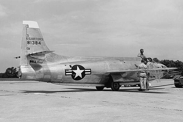 Bell X-1A Supersonic Test Plane, circa 1950. The X-1A was the first plane to travel at supersonic speed when on October 14, 1947, pilot Chuck Yeager flew the plane past the sound barrier. The plane was eventually destroyed in a fire.