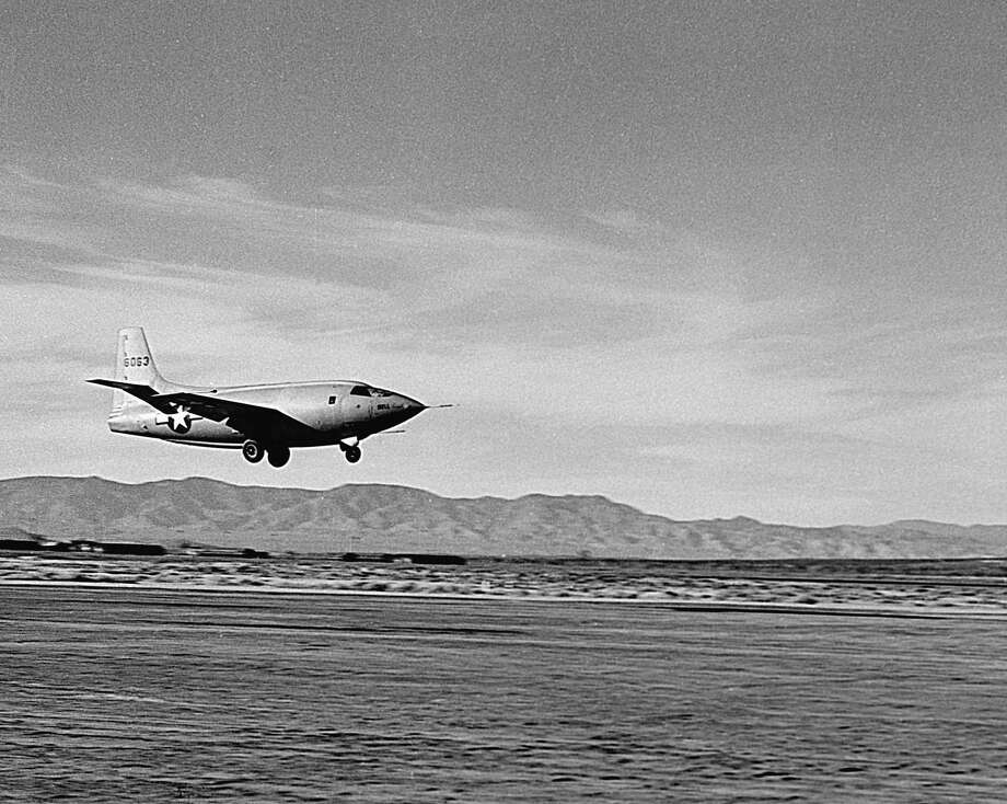 A Bell Aircraft Corp. X-1 supersonic test plane, number 46-063, lands in this circa 1950 photo. Photo: Museum Of Flight Foundation/Corbis Via Getty Images