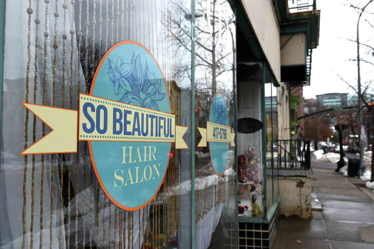Exterior of So Beautiful Salon on Thursday, Dec. 24, 2020, on State Street in Troy, N.Y. (Will Waldron/Times Union)