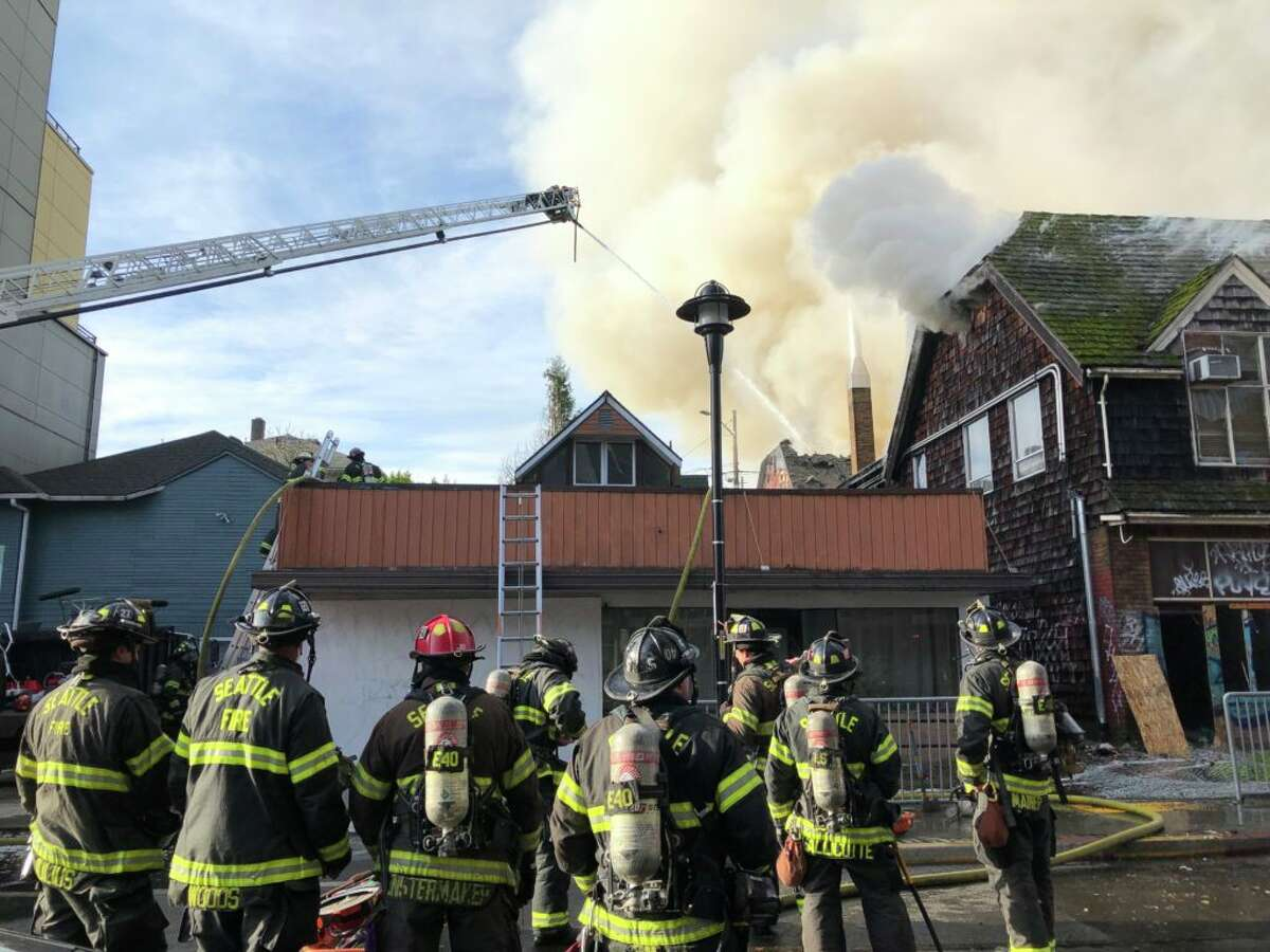 Crews control fire at Seattle's former Seven Gables Theatre