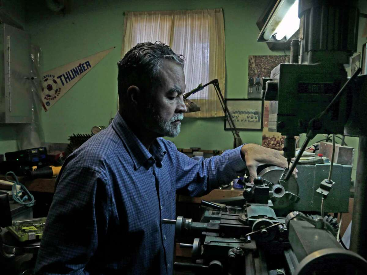Karl Koegel is seen in his father's workshop in San Antonio on Dec. 21, 2020. Ewald Koegel left Germany in the late 1950s and wound up in the Air Force, initially stationed at Randolph AFB in San Antonio. He would later work on the space medicine program.