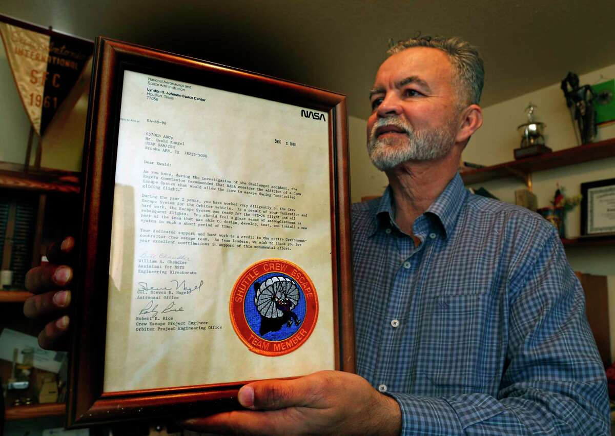 Karl Koegel holds one of many letters he received from NASA about his father, Ewald Koegel. After leaving Germany in the late 1950s, Ewald Koegel worked on the space medicine program at Brooks AFB in San Antonio. He died in November 2020 in Heidelberg, Germany.