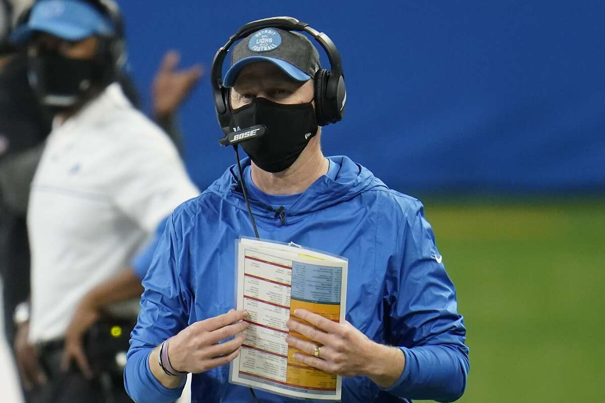 Detroit Lions head coach Darrell Bevell watches during an NFL football game against the Green Bay Packers, Sunday, Dec. 13, 2020, in Detroit. (AP Photo/Paul Sancya)