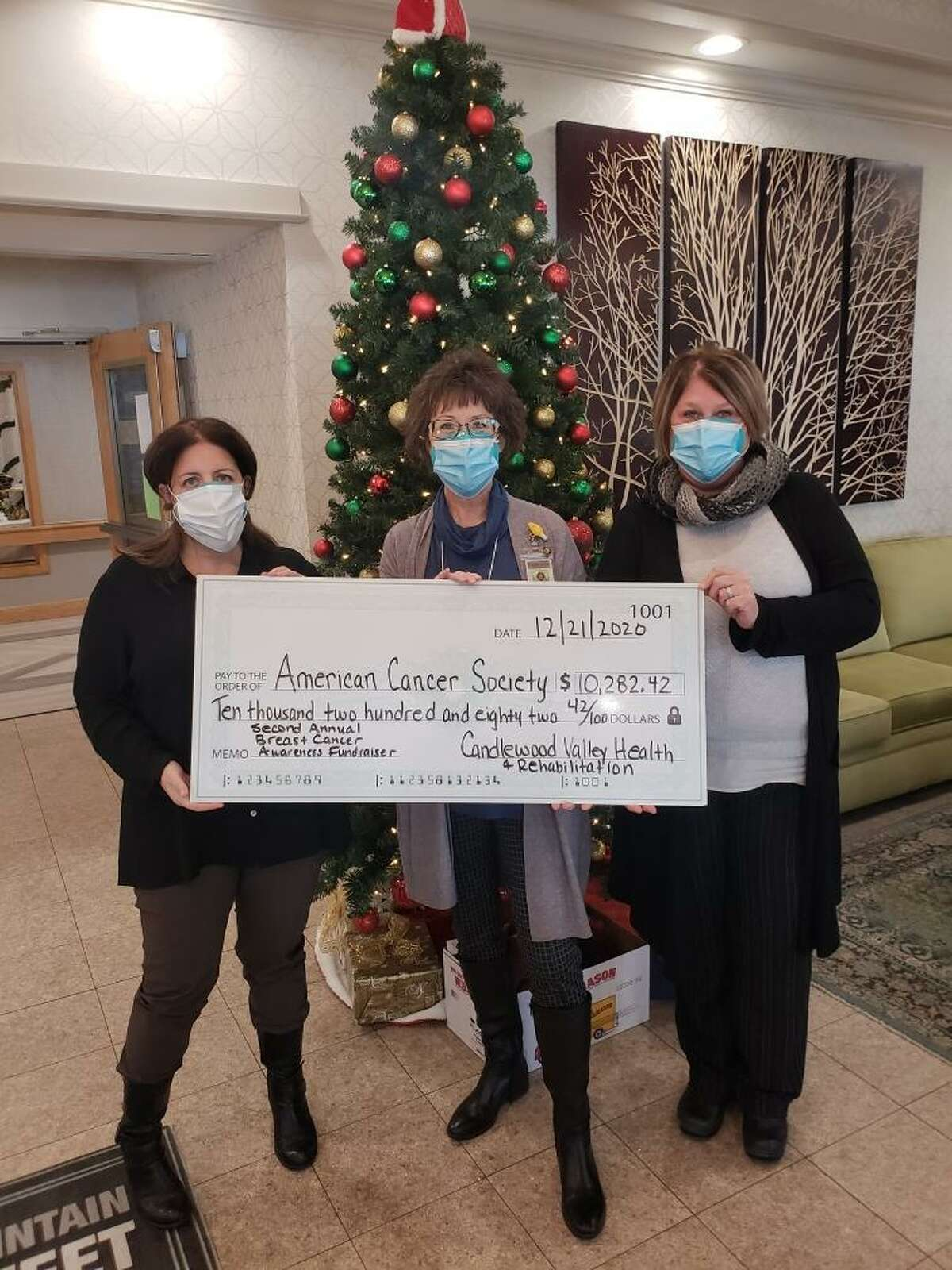From left are Melissa Marici, Patty Murphy and Georgia Epting, all from Candlewood Valley Health and Rehabilitation.
