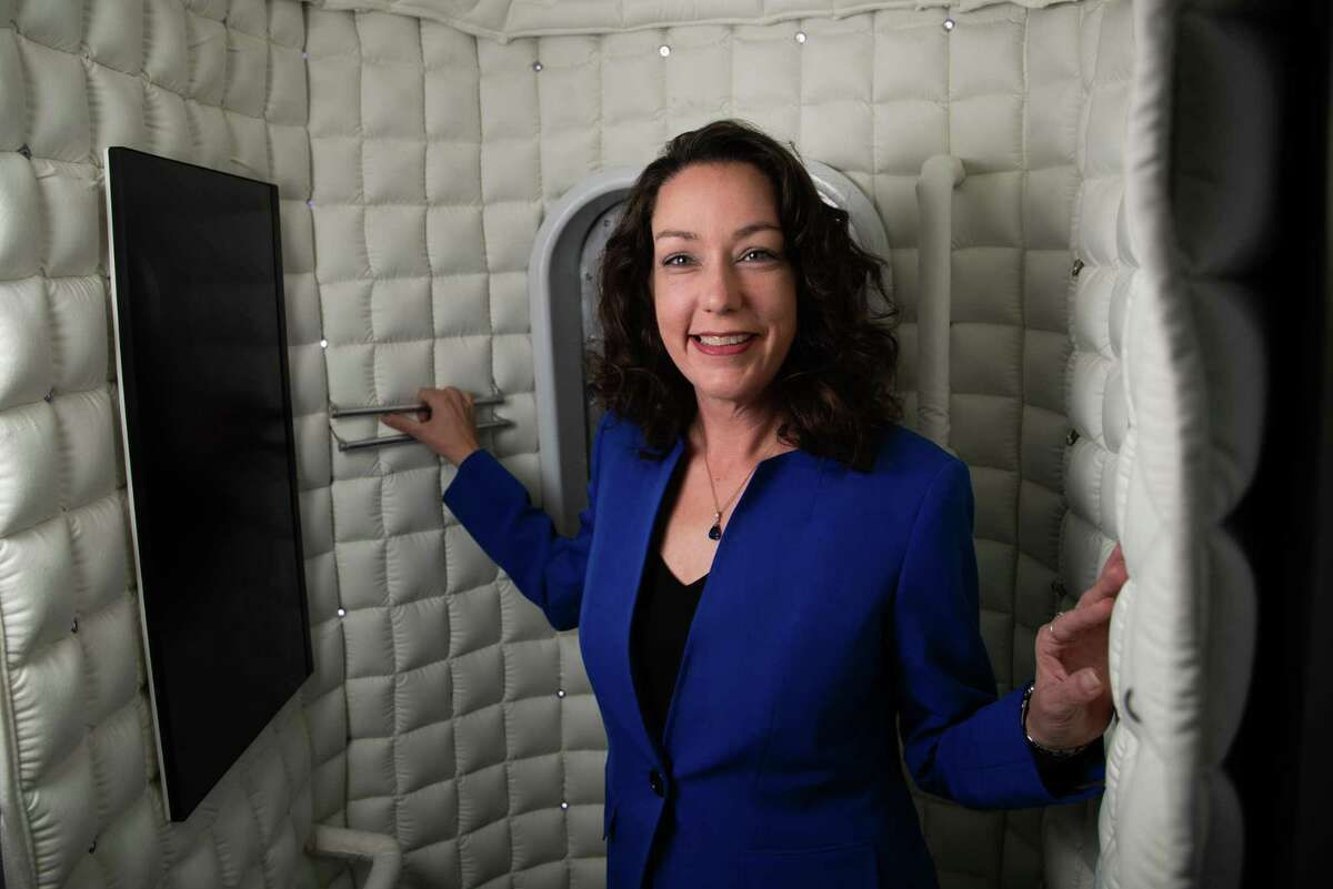 SpaceFund managing partner Meagan Crawford poses for a portrait inside Axiom Space's crew quarters module mockup, Wednesday, Dec. 9, 2020, in the Clear Lake area. SpaceFund is a venture capital firm investing in startups.