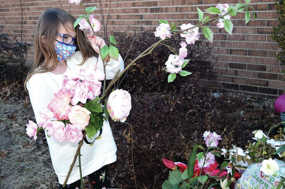 Alaina Lacy, 5, is collecting flowers to decorate gravesites. Photo: Samantha McDaniel-Ogletree | Journal-Courier