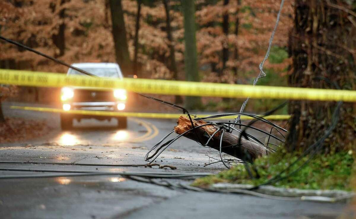Downed power lines block Stony Brook Road in Darien on December 25, 2020.