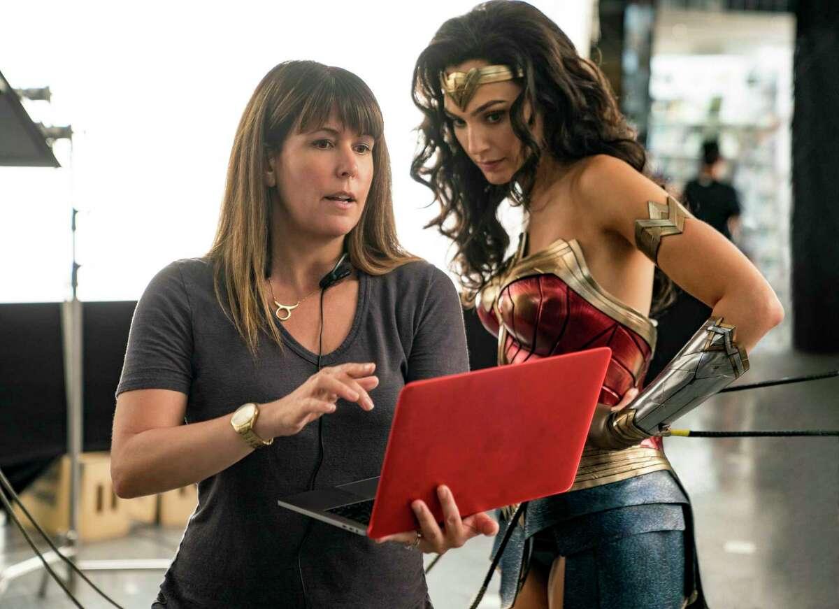 "Director Patty Jenkins and Gal Gadot work on ""Wonder Woman 1984."""
