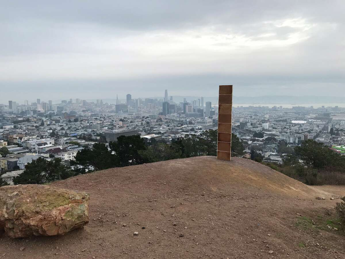 A monolith made of gingerbread appeared at the top of Corona Heights Park Friday morning.
