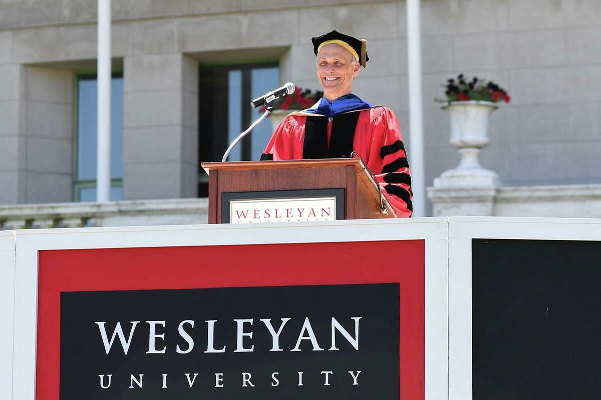 Wesleyan University celebrated its 2020 graduates at a virtual commencement ceremony Sunday in Middletown.President Michael Roth delivered his remarks live on campus, with a very small gathering of socially-distanced graduates and onlookers in attenance.