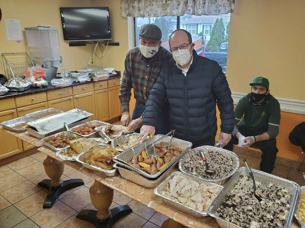 Members of Congregation Agudath Sholom in Stamford, Conn., prepared and delivered meals on Friday, Dec. 25, 2020 for clients of nonprofit Pacific House staying at a hotel in Stamford.