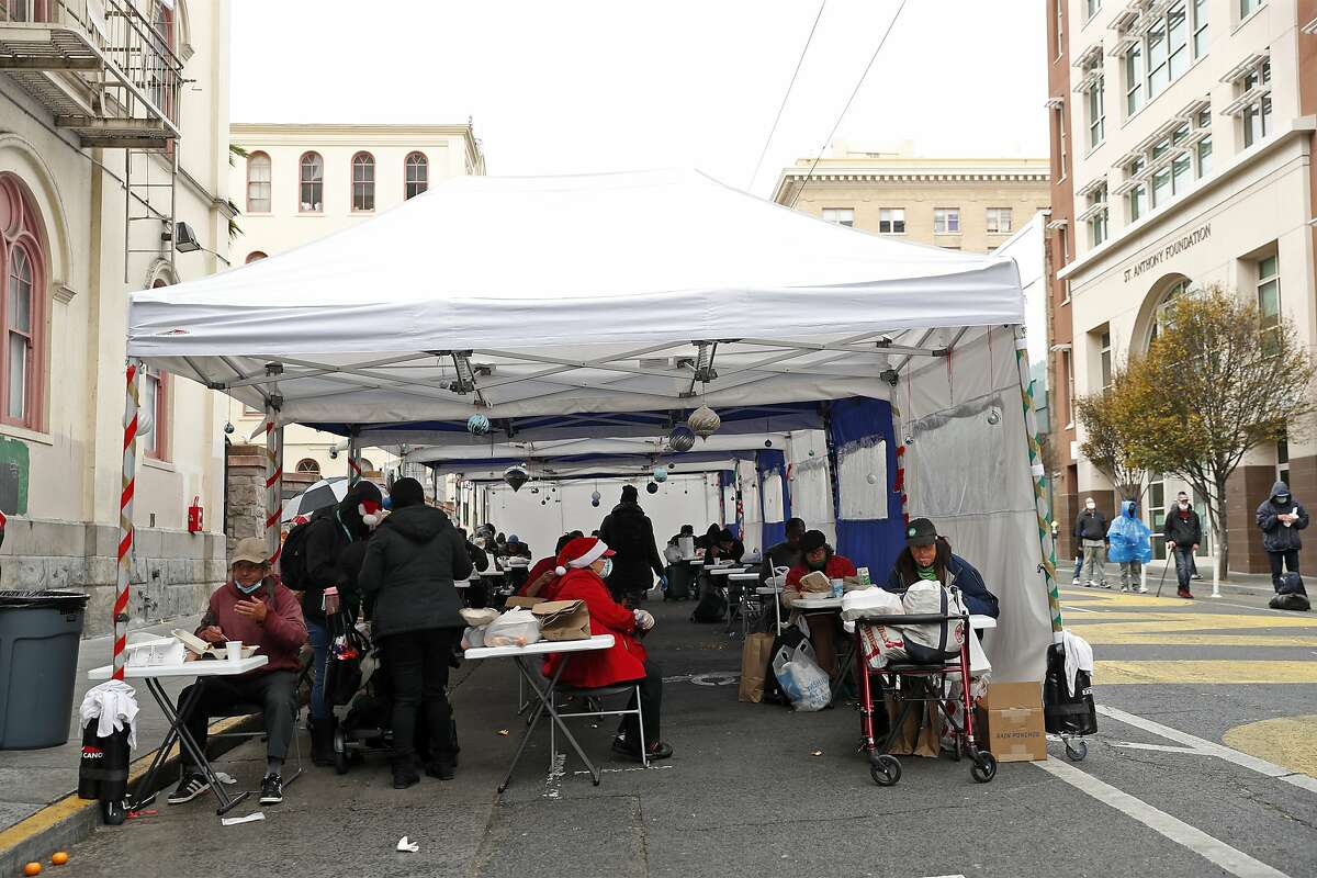 St. Anthony's serves a Christmas meal on Golden Gate Avenue in San Francisco.