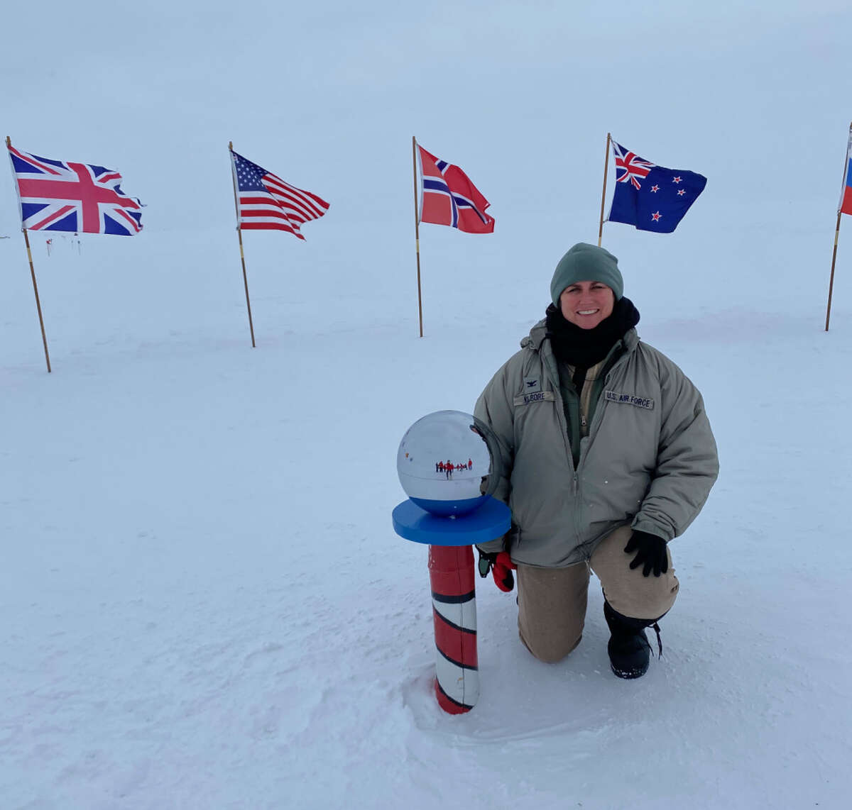 Col. Michele Kilgore, the commander of the New York Air National Guard's 109th Airlift Wing, is on duty at the South Pole at Amudsen-Scott South Pole Station in Antarctica on Feb., 6, 2020. (Courtesy Col. Michele Kilgore)