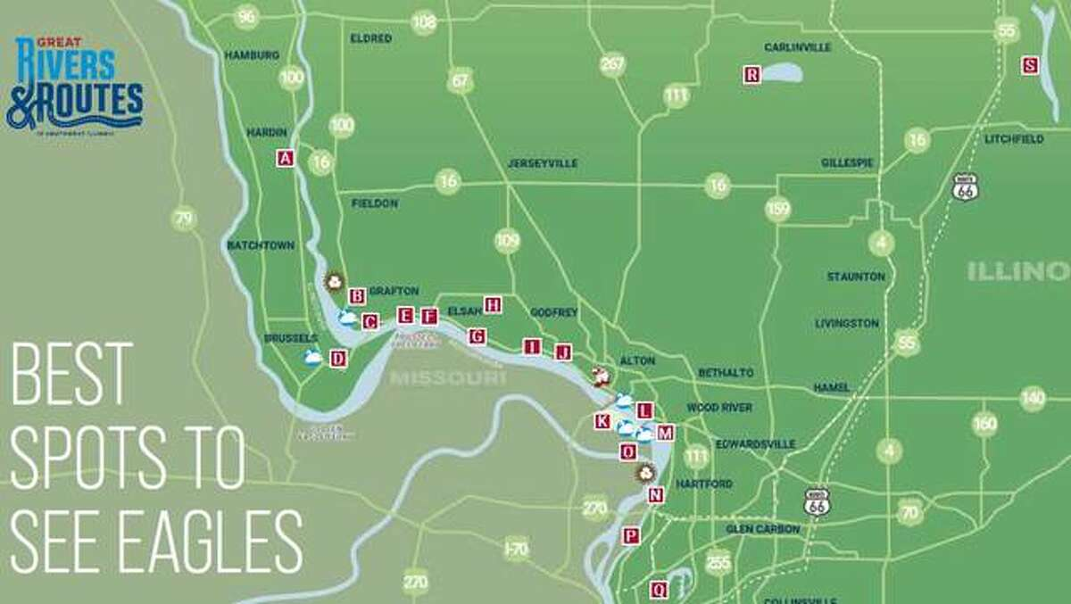 """Here are some prime spots to see wintering eagles in the Riverbend: (A) Illinois 100 in Hardin; (B) Pere Marquette State Park in Grafton; (C) Two Rivers National Wildlife Refuge, Gilbert Lake; (D) Two Rivers National Wildlife Refuge, Swan Lake; (E) Brussels Ferry; (F) Grafton riverfront; (G) Elsah; (H) Treehouse Wildlife Center in rural Dorsey; (I) Piasa Harbor; (J) Clifton Terrace; (K) Riverlands Migratory Bird Sanctuary and The Audubon Center at Riverlands in West Alton; (L) National Great Rivers Museum and Melvin Price Locks and Dam in Alton; (M) Lewis and Clark Community College National Great Rivers Research and Education Center in East Alton; (N) Lewis & Clark State Historic Site in Hartford; (O) Edward """"Ted"""" and Pat Jones-Confluence Point State Park in West Alton; (P) Chain of Rocks Bridge at Granite City; (Q) Horse Shoe Lake State Park, Pontoon Beach; (R) Beaver Dam State Park near Carlinville; and (S) Lake Lou Yaeger near Litchfield."""