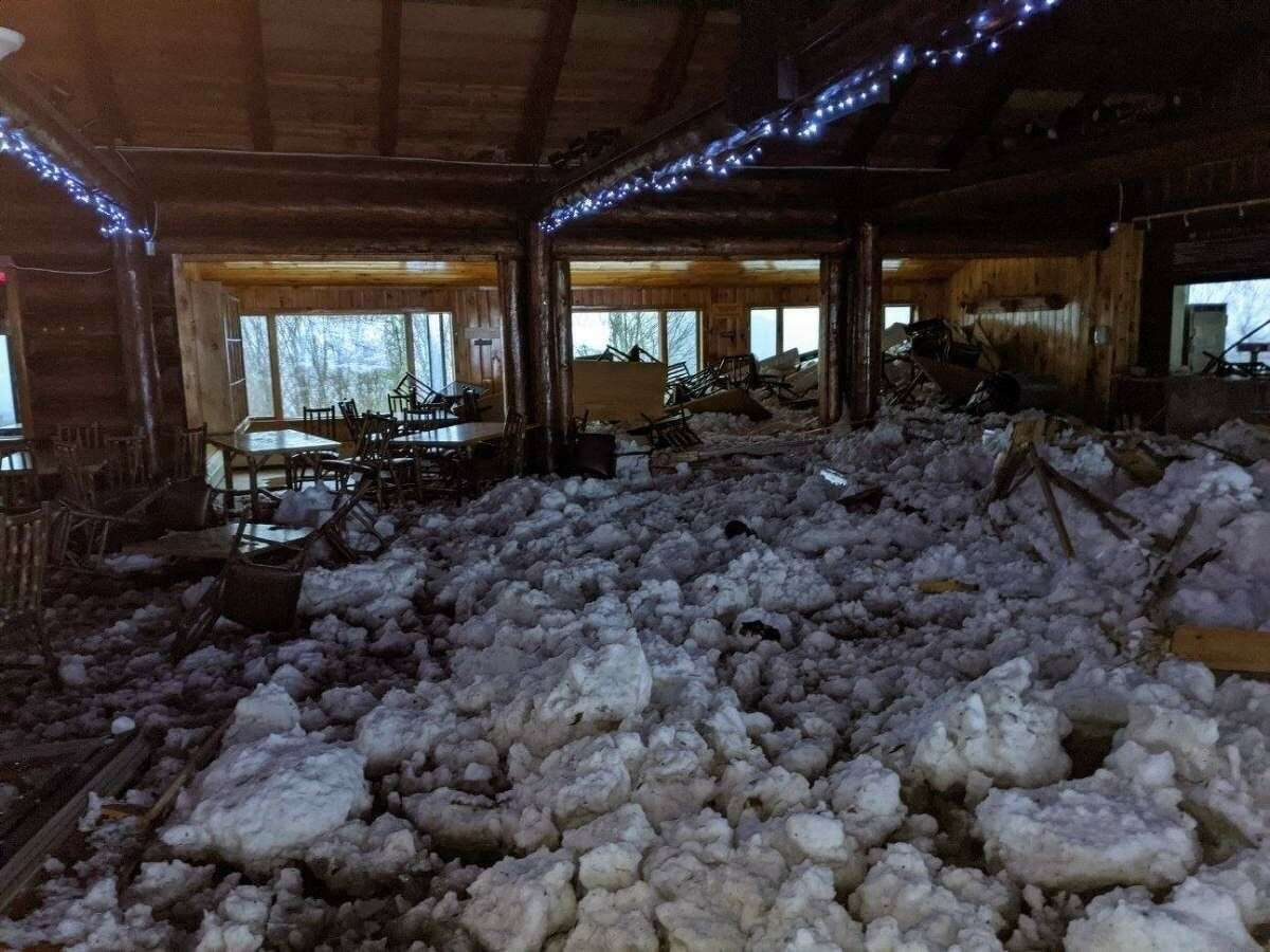 Avalanche damages overlook lodge at Belleayre Mountain in Ulster County on Friday, Dec. 25, 2020. (Photo courtesy Belleayre Mountain)