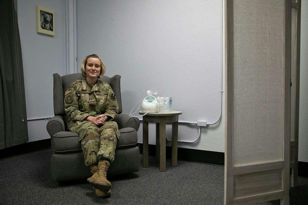 Master Sgt. Meagan Roberts sits in the lactation room at Air Force Recruiting Service headquarters at JBSA-Randolph.