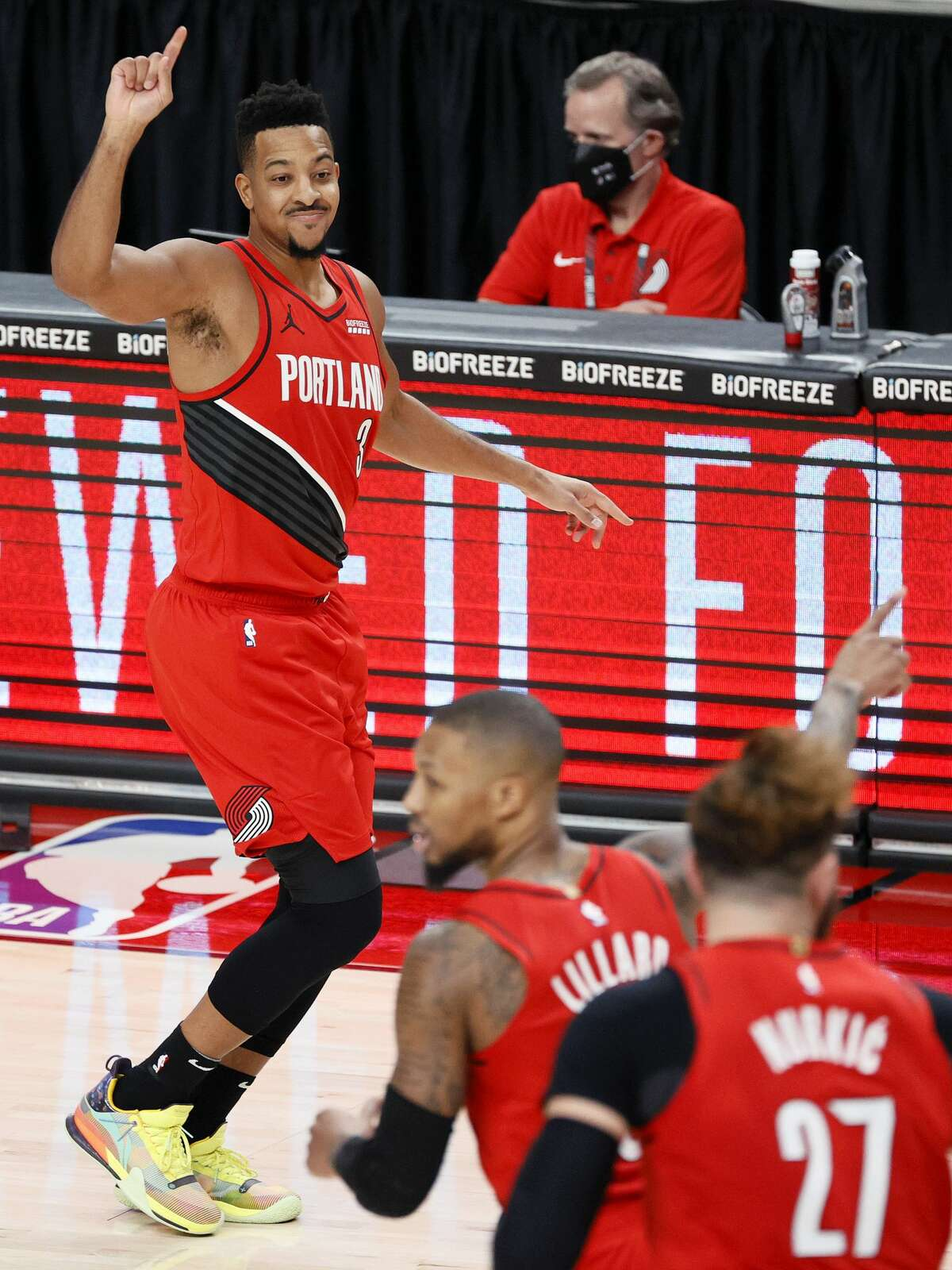 CJ McCollum #3 of the Portland Trail Blazers reacts after his three point basket against the Houston Rockets during the third quarter at Moda Center on December 26, 2020 in Portland, Oregon. (Photo by Steph Chambers/Getty Images)