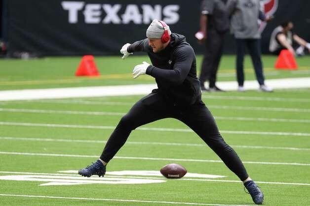Houston Texans defensive end J.J. Watt warms up before an NFL football game at NRG Stadium on Sunday, Dec. 27, 2020, in Houston. Photo: Brett Coomer, Staff Photographer / © 2020 Houston Chronicle