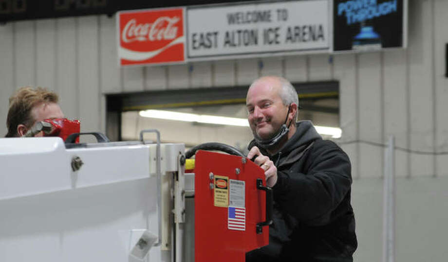 Clay Stevens of Glen Carbon enjoys his time at the wheel during Saturday's Zamboni School at the East Alton Ice Arena. Eight people participated in the event which culminated in a chance to drive tha Zamboni.
