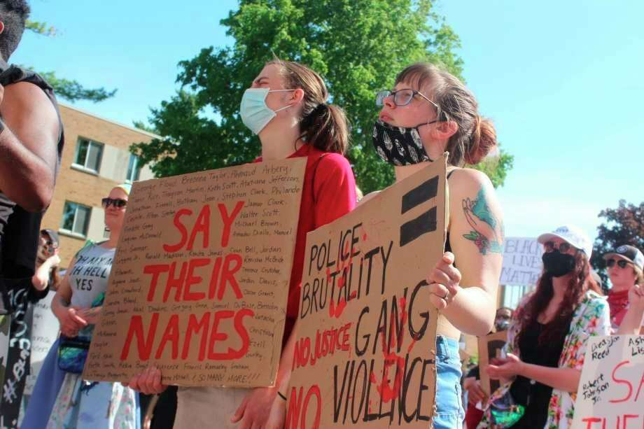 On June 3, more than 500 people gathered on the campus of Ferris State University in solidarity with Black Lives Matter. (Pioneer file photo)