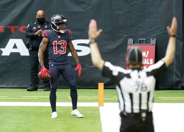 Houston Texans wide receiver Brandin Cooks (13) celebrates his touchdown catch during the second quarter of an NFL football game at NGR Stadium, Sunday, December 27, 2020, in Houston. Photo: Karen Warren, Staff Photographer / © 2020 Houston Chronicle