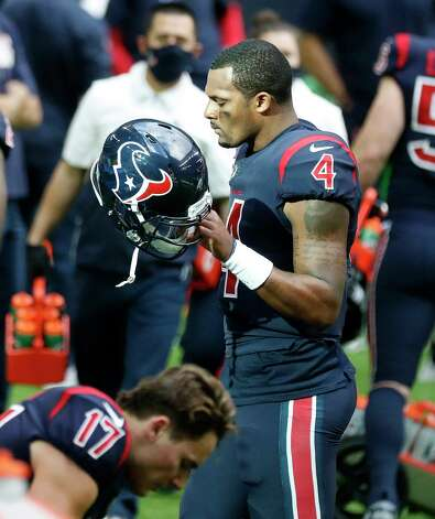 Houston Texans quarterback Deshaun Watson (4) reacts as he walks back to the bench after he was sacked, fumbled the ball and the Cincinnati Bengals recovered it for the turnover in the last two minutes during the fourth quarter of an NFL football game at NRG Stadium, Sunday, December 27, 2020, in Houston. Photo: Karen Warren, Staff Photographer / © 2020 Houston Chronicle