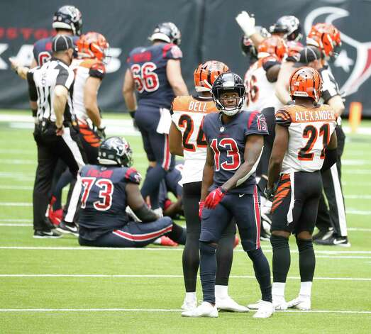 Houston Texans wide receiver Brandin Cooks (13) reacts after quarterback Deshaun Watson was sacked, fumbled the ball and the Cincinnati Bengals recovered it for the turnover in the last two minutes of the fourth quarter of an NFL football game at NRG Stadium, Sunday, December 27, 2020, in Houston. Photo: Karen Warren, Staff Photographer / © 2020 Houston Chronicle