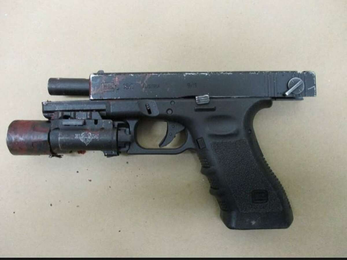 The handgun wielded by an individual who was killed by police in a Saturday night incident in Hartford.