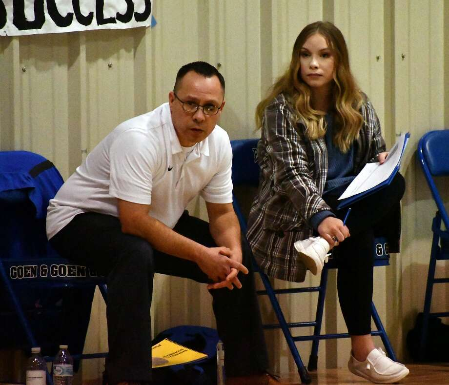 Jeff Gonzales (left) and his daughter Jaden have joined forces as the coaching staff of both Plainview Christian Academy varsity basketball teams this season. Photo: Nathan Giese/Planview Herald