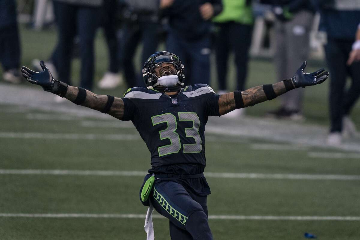 Seattle Seahawks defensive back Jamal Adams celebrates after a play during the second half an NFL football game against the Lost Angeles Rams, Sunday, Dec. 27, 2020, in Seattle. The Seahawks won 20-9. (AP Photo/Stephen Brashear)