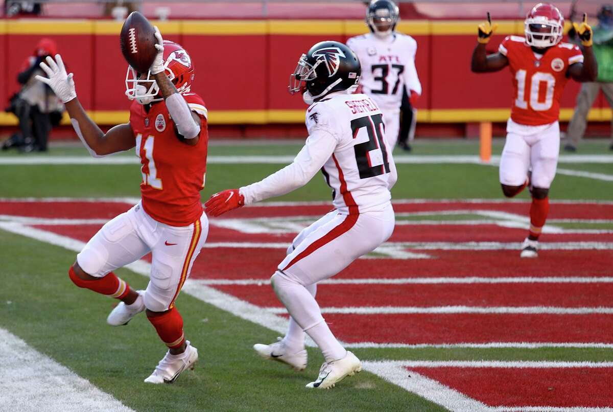 Demarcus Robinson of the Kansas City Chiefs celebrates a fourth-quarter touchdown in a 17-14 win against the Atlanta Falcons. The win propelled the Chiefs to a 14-1 record.