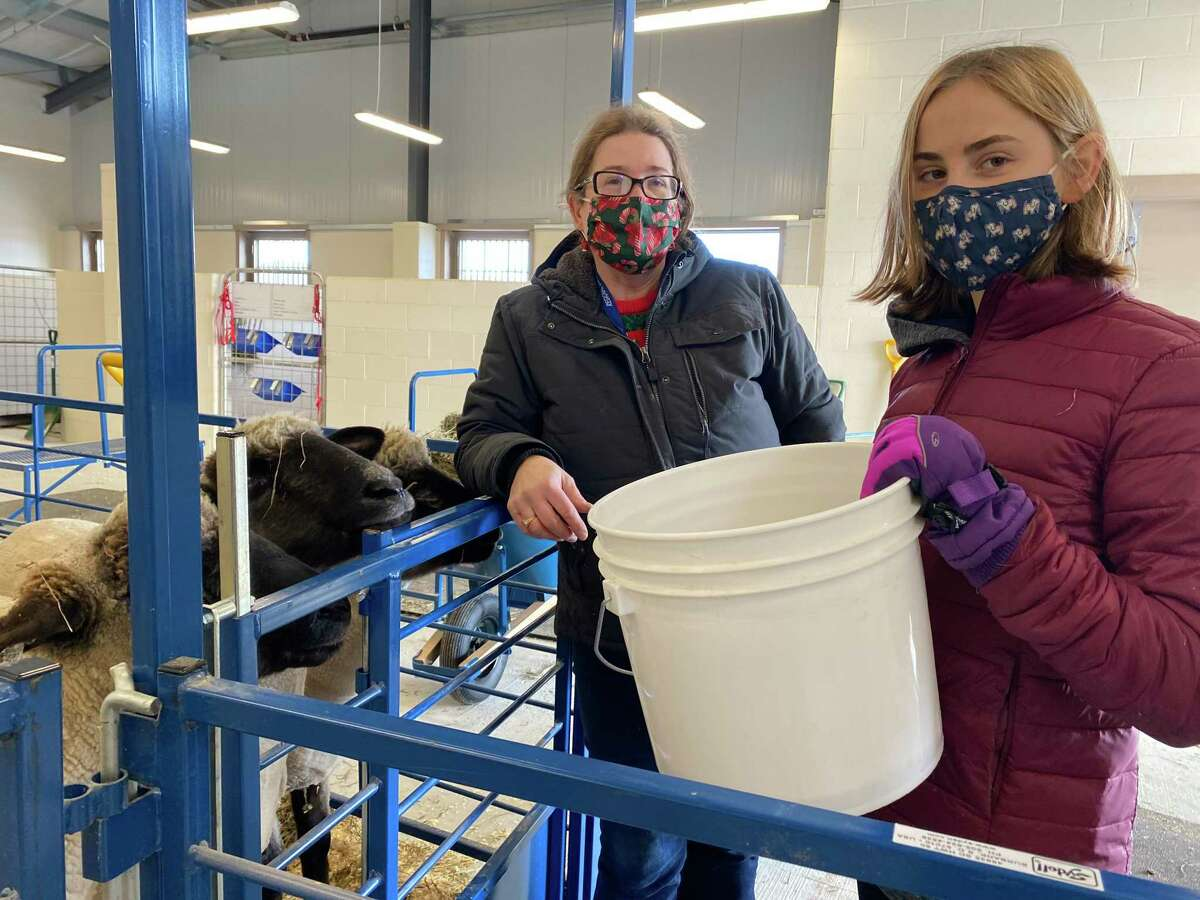 From left, teacher Anne Hermans with a student in Shepaug Valley School's agriscience program