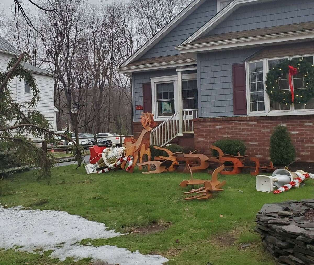 In addition to handling multiple storm-related calls Christmas Day, Danbury firefighers responded to an incident involving a rolled over Santa's sleigh.