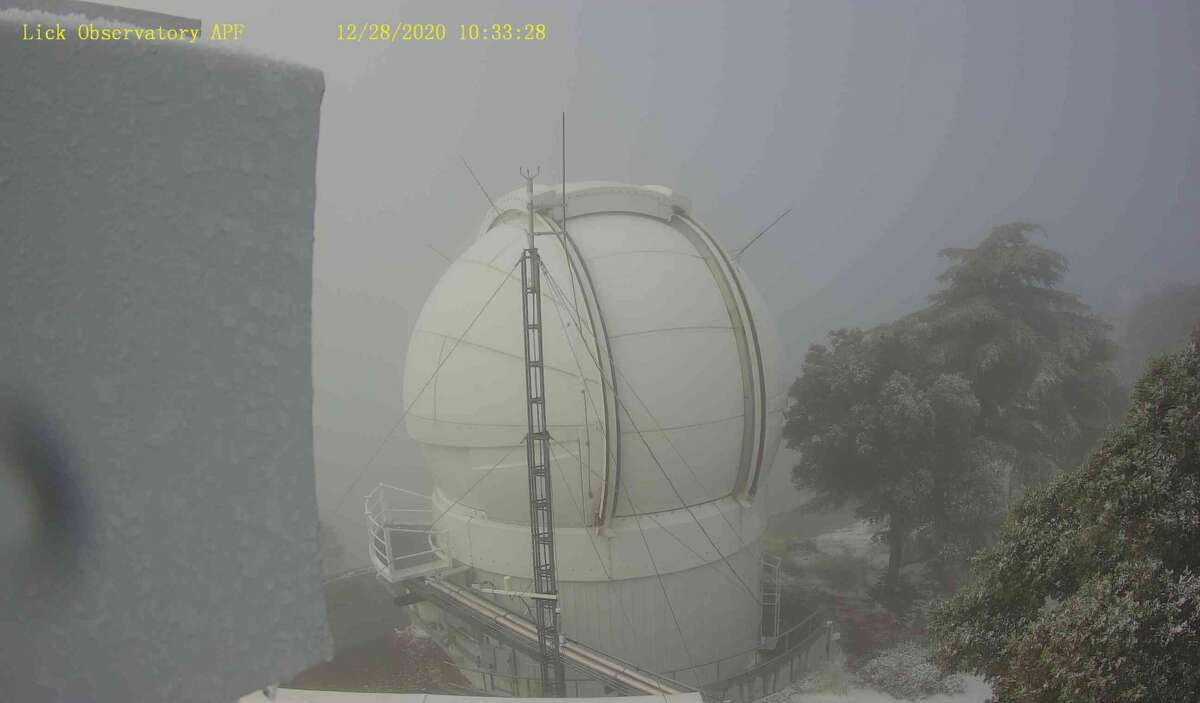 a light dusting of snow covers the Lick Observatory in San Jose on Monday morning, Dec. 28, 2020.