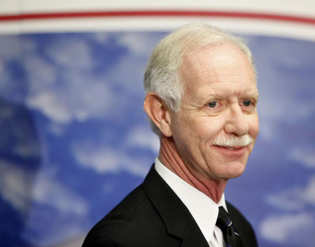 Chesley Sullenberger, who safely landed his disabled plane in the Hudson River, speaks to the media at LaGuardia Airport in New York.